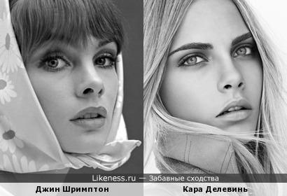 Модели Джин Шримптон и Кара Делевинь похожи