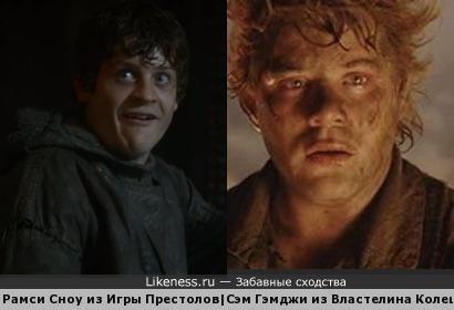 Иван Реон в роли Рамси Сноу похож на Шона Эстина в роли Сема Гемджи