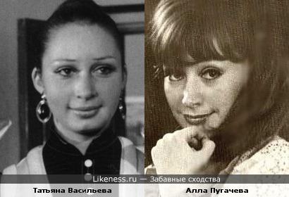 Еще совсем молодые Татьяна Васильева и Алла Пугачева
