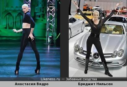 Анастасия Вядро похож на высокая рост Бриджит Нильсен