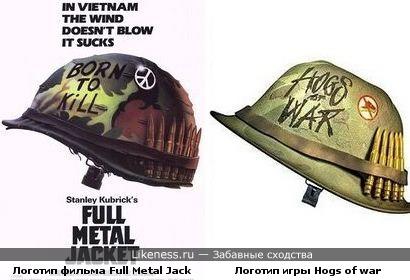 Логотип игры Hogs of war похож на логотип фильма Full Metal Jacket