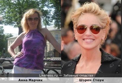 Анна Марчик похожа на Шэрон Стоун