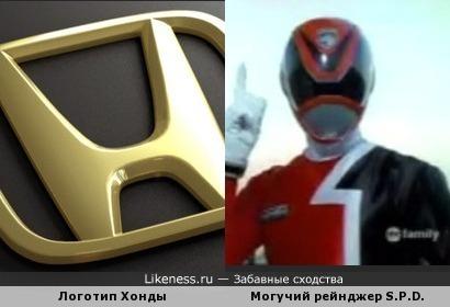 Шлемы рейнджеров из Космического Патруля Дельта похожи на логотип Хонды