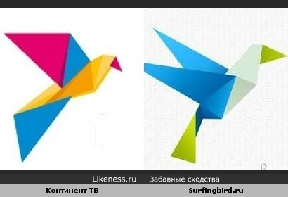 """Логитипы """"Континент ТВ"""" и Surfingbird.ru похожи"""