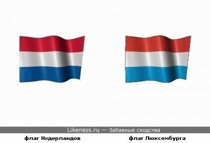 Флаг Люксембурга похож на флаг Нидерландов