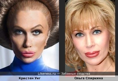 Кристен Уиг в гриме и Ольга Спиркина