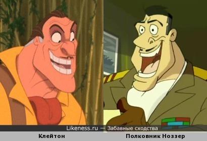 """Клейтон (""""Тарзан"""") и полковник Ноззер (""""Гаджет и Гаджетины"""") почти идентичны"""