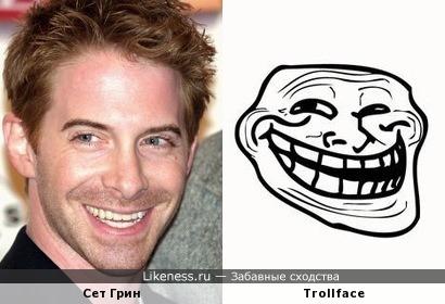 Выражение лица Сета Грина напомнило Trollface