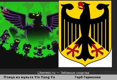 Птица из м/ф Yin Yang Yo пожох на Герба Германии