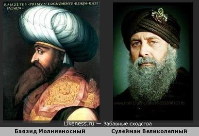 Сходство турецких султанов Баязида Молниеносного и Сулеймана Молниеносного