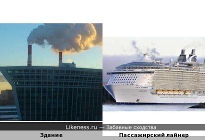 Это здание на таком фоне похоже на лайнер
