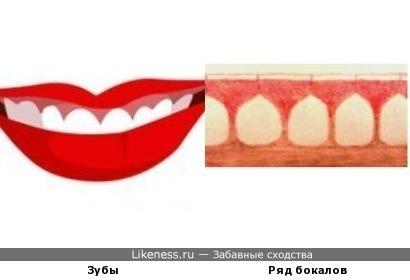Просветы между бокалами похожи на зубы