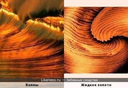 Волны на ярком закате выглядят как текстура жидкого золота