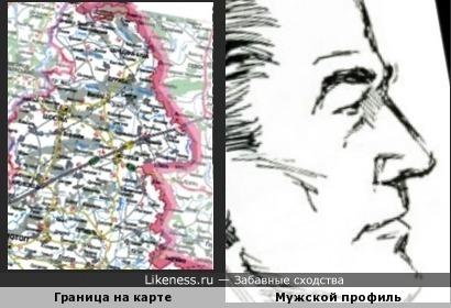Фрагмент границы России и Украины напоминает профиль