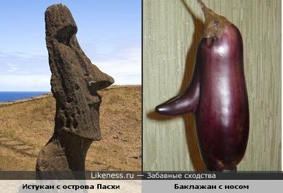 Баклажан с носом напомнил истукана с острова Пасхи.