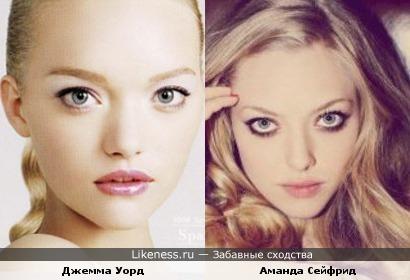 Модель Джемма Уорд и Аманда Сейфрид похожи