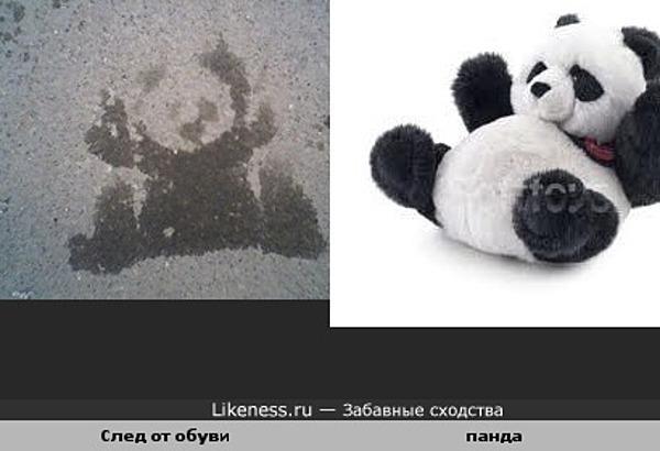 След на асфальте похож на панду
