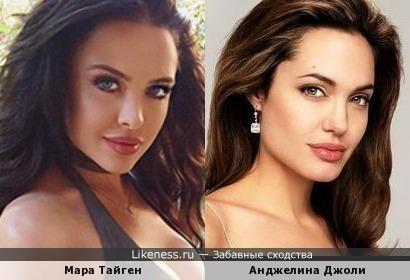 Модель похожа на Анджелину Джоли.