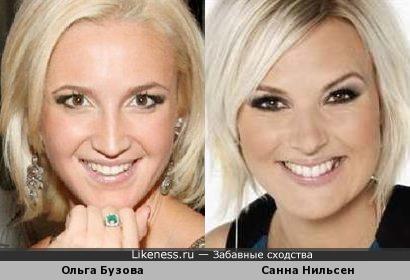 Российская телеведущая Ольга Бузова имеет сходство с шведской певицей Санной Нильсен