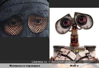Женщина в парандже похожа на Wall-e