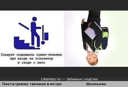 Школьник и пиктограмма сумки-тележки в метро