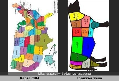 Карта США похожа на схему разделки говяжьей туши