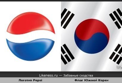 Логотип Pepsi похож на флаг Южной Кореи