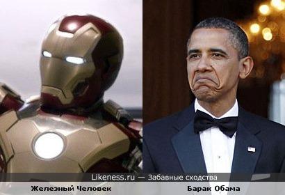 Шлем Железного Человека похож на Барака Обаму