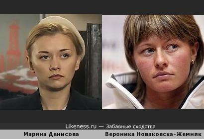Марина Денисова и польская биатлонистка Вероника Новаковска-Жемняк