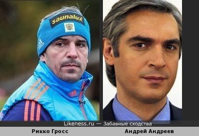 Тренер мужской биатлонной сборной Рикко Гросс и Актер Андрей Андреев