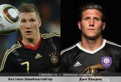 Немецкий футболист, полузащитник клуба MLS «Чикаго Файр» Бастиан Швайнштайгер и американский вратарь клуба «Орландо Сити» - Джо Бендик очень похожи!