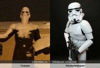Статуя в снегу похожа на Стормтрупера