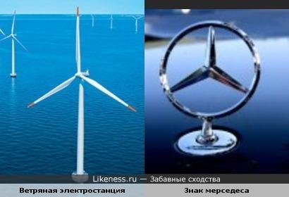 Ветряная электростанция похожа на знак мерседеса