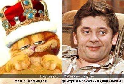 Мемасик с Гарфилдом, который активно ходит в том числе и на этом сайте, очень напомнил Дмитрия Брекоткина:)