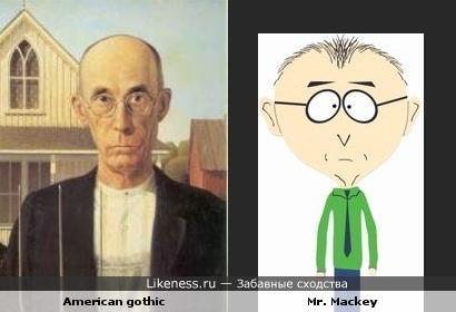 "персонаж картины ""Американская готика"" напоминает Mr. Mackey (""South Park"")"