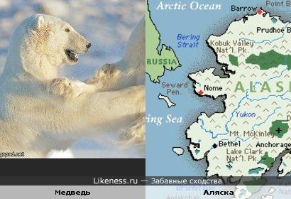 Полуостров Аляска похож на медведя, тянущего руки к России