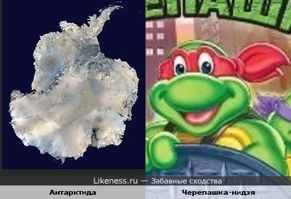 Антарктида похожа на голову черепашки-ниндзя