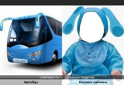 Автобус похож на костюм зайчика