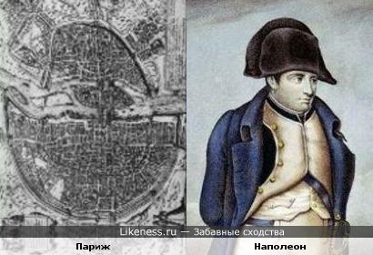 Перевёрнутая карта Парижа напоминает Наполеона