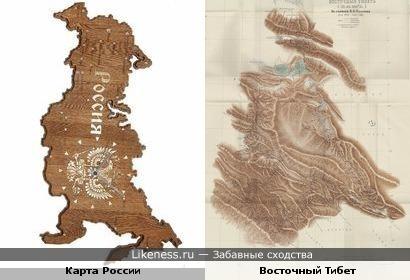 Карта России похожа на карту Восточного Тибета 1901 года