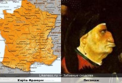 Карта Франции по хожа на профиль персонажа картины Босха