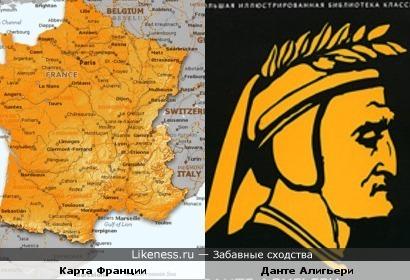 Карта Франции по хожа на профиль Данте