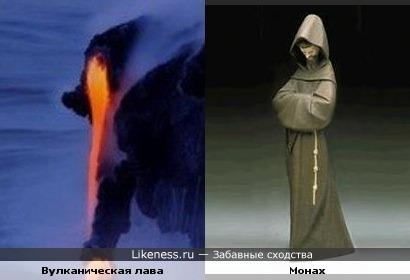 Вулканическая лава похожа на монаха