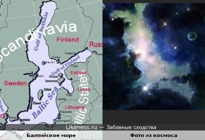 Балтийское море с заливами похоже на космического зайчика
