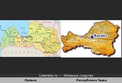 Карта Латвии похожа на карту Республики Тыва