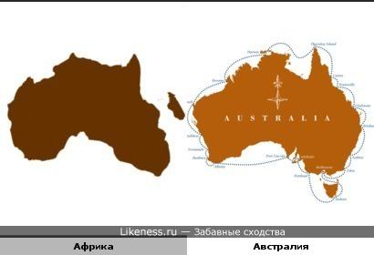 Перевёрнутая карта Африки похожа на карту Австралии