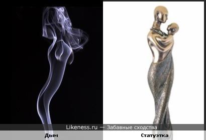Дым похож на статуэтку женщины