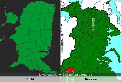 Карта США похожа на карту европейской части России