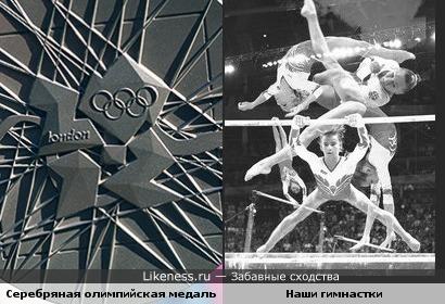 Орнамент серебряной олимпийской медали похож на коллаж выступления наших гимнасток