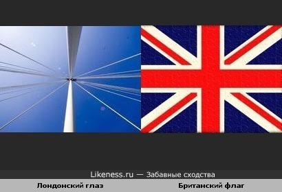 Колесо обозрения Лондонский глаз с этого ракурса похоже на британский флаг